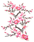 C-Pioneer 3pcs DIY Magnolia Flower Iron on Patches Embroidered Badge Applique Patches