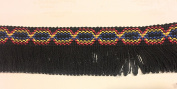 Designer BRAID FRINGE Black Multi Colour Trim , COTTON- For Clothing , Pillows, Rugs, Drapes 5 Yds Br-129