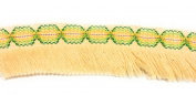 Designer BRAID FRINGE Ivory Multi Colour Trim , COTTON- For Clothing , Pillows, Rugs, Drapes 5 Yds Br-129