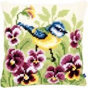 "Blue Tit On Pansies Cushion Cross Stitch Kit-41cm ""X16"""""