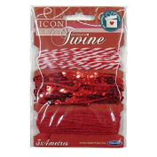 Decorative Twine / String, Red - 3 Designs, 3 x 4 Metres, by Icon