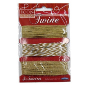 Decorative Twine / String, Natural - 3 Designs, 3 x 5 Metres, by Icon