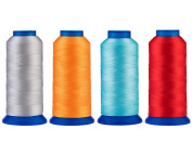 Selric [6000 Yards] UV resistant High Strength Polyester Thread #69 T70 Size 210D/3 for Upholstery, Outdoor Market, Drapery, Beading, Purses, Leather [SILVER GREY+ORANGE+SKY BLUE+RED]