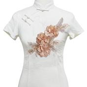 1piece 3D Flower Beaded Rhinestones Lace Applique Patches Bridal Wedding Dress Decorated Motifs Applique T1856