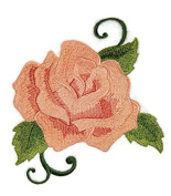 Custom Peach Single Rose Embroidered Iron on/Sew patch [13cm 10cm ] [Made in USA]