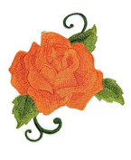 Custom Orange Single Rose Embroidered Iron on/Sew patch [13cm 10cm ] [Made in USA]