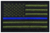 Police law enforcement Thin Blue Line Usa Flag Patch (3.0 X 2.0) grn