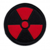 Motorcycle Jacket Embroidered Patch - Radioactive Nuclear Symbol (Black, Red) - Vest, Cut, Leathers - 7.6cm Round