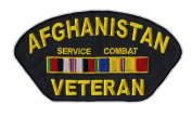 Motorcycle Jacket Embroidered Patch - Afghanistan Service Combat Veteran - Vest, Cut, Leathers - 13cm x 6.4cm