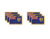 PACK of 6 Turks & Caicos Flag Patches 8.9cm x 5.7cm , Turk Islander Embroidered Iron On or Sew On Flag Patch Emblem