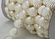 10 Yards 1.5cm Width Ivory Shell Pearl Rhinestone Chain Sew On Trims Wedding Dress Decoration LZ113
