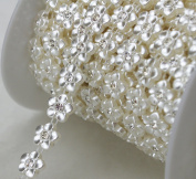 10 Yards 1cm Width Ivory Flower Pearl Rhinestone Chain Sew On Trims Wedding Dress Decoration LZ107