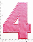 Pink Number 4 Patch Number four counting logo Letter school symbol counting logo jacket T-Shirt patch iron on patch