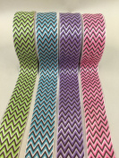 3.8cm x 10 yards Green Polyester Satin ZIGZAG chevron Ribbon-OVERSTOCK SALE