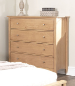 Edward Hopper oak chest of drawers. 4 drawer chest with deep drawers and metal runners. Quality FULLY ASSEMBLED chest of drawers