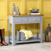 Manor Grey Painted 2 Drawer Console Hall Table with Oak Top