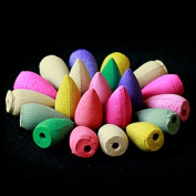 Gemini_mall® 50Pcs Natural Smoke Backflow Tower Incense Cones Flower Fragrant Reflux Aromatherapy Cones