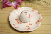 Mini Red Cherry Blossoms Flower Shape Dish Type Incense Holder Ceramic Made in Japan