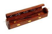 Zap Impex ® Wood Hand carved wooden incense Incense burner Incense burner holder with storage compartment, 12 x 5.1cm x 6.4cm
