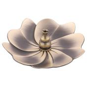 sourcingmap® Metal Living Room Flower Shaped Stick Cone Incense Burner Holder Set Bronze Tone