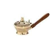 Nklaus Esoteric Incense Cones Wood Handle Handmade Brass Censer Gold Decorative 1542