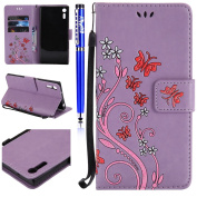 FESELE Sony Xperia XZ Case,Sony Xperia XZ Cover,Glitter Butterfly Flower Pattern Painted PU Leather Case Book Style Magnetic Closure PU Leather Wallet Elegant Classic Flip Cover Case Card Slot and Banknotes Pocket with Hand Strap For [Sony Xperia XZ] + ..