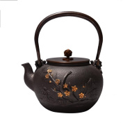 Japan Cast Iron Teapot Handicraft Non-Coated Oxidation Treatment Of Inner Wall Wave Mei Orchid Bamboo Chrysanthemum Pattern Boiled Water Tea 1.4L