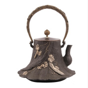 Japan Cast Iron Teapot Handicraft Non-Coated Oxidation Treatment Inner Wall Old Roots Boil Tea 1.8L