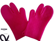 ducomi® mychef – Silicone Heat Resistant Oven and Stove for the Kitchen and Barbecue Gloves – 1 Pair pink