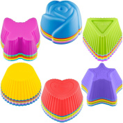 42 pcs Silicone Cupcake Baking Cups, SENHAI Non-Stick Heat Resistant Cake Moulds Ice Cube Moulds for Making Muffin Chocolate Bread - 6 Shapes