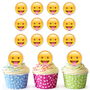 Emoji Tongue Out Cupcake Toppers / Cake Decorations