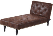 Dream Warehouse Charles Chaise Longue, Faux Leather, Brown