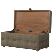 Artisan Furniture Footstool with Bun Feet and Buttons on all Sides, Wood, Natural Oak Finish
