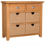 Cheshire Oak 2 Drawer Hall Console Table with 4 Storage Baskets