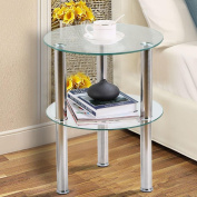 tinkertonk Clear Small Round Glass 2 Tier Sofa Side Table Stainless Steel Legs with Storage Shelf