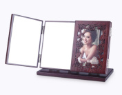 Meylee Handmade Retro Wooden with Photo Frame Hollow Carved Tri-Fold Travel Makeup Mirror folding portable Lighted tabletop Mirror , b