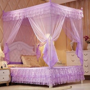 FUNAN Palace Mosquito Net Three Open nets Acetate Fibre Material Nets Bracket Installation , blushing pink