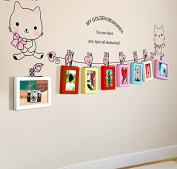 NAUY- 8 Frame Solid Wood Photo Frame Wall Pink On The Cat Creative Photo Wall Multi-colour Mix Of Living Room Photo Wall Group