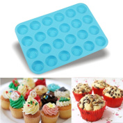 Mumustar Silicone 24 Cavity Mini Muffin Cupcake Baking Pan Handmade Cake Decoration DIY Mould Chocolate Cookies Candy Mould Soap Cookies Bakeware Pan Tray Mould