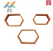 Hexagonal Paint Shelf Partition Home Creative Wall Frame Living Room Display Decorative Shelves, Cherry Colour