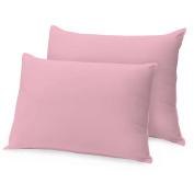 Ray Bedding 100% Egyptian Cotton 400 Thread Count Pillow Cases, Pink, Pack Of 2