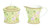 R2S 1351palf Palace Garden Fresco cremier and Sugar Bowl Bone China 14.2x19.4x14.8 cm, Beige