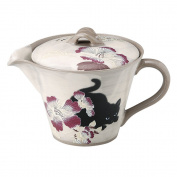 Japanese Seto-yaki Ceramic Teapot 320ml - Bushoan Hibiscus and Cat by Aitoh 503476