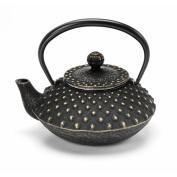 Japanese Nanbutekki Ironware Iron Teapot Size 3 Black & Gold Arare by Aitoh 5801