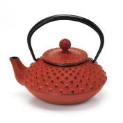 Japanese Nanbutekki Ironware Iron Teapot Size 3 Red & Black Arare by Aitoh 5802