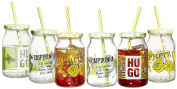 Ritzenhoff & Breker 153040 450 ml Spray With Straw And Lid – Set of 6 Glasses of Hugo Caipi Assorted Drinking Glasses, Glass, Multi, 7.5 x 7.5 x 13 cm 6 Units
