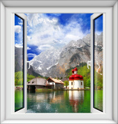 XMJR New fake window stickers window stickers wall stickers 3D space simulation pane of the European landscape series specification 75*80cm