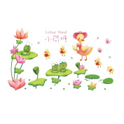 Winhappyhome Lotus Pond Wall Art Stickers for Bedroom Living Room Coffee Shop Background Removable Decor Decals