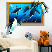 XMJR Simulation of 3D stereo wall stickers wall decorating the living room sofa wall creative personality Ocean penguins stickers specifications 80*64cm