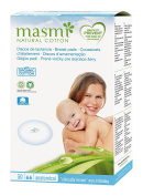 30 x Masmi Breast Pads 100% Certified Organic Cotton Absorbent Core, Hypoallergenic, 100% Biodegradable, Perfume, Viscose, Rayon, Chlorine and Dioxin Free